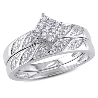 Miadora Sterling Silver 1/10ct TDW Diamond Bridal Ring Set (H-I, I2-I3)