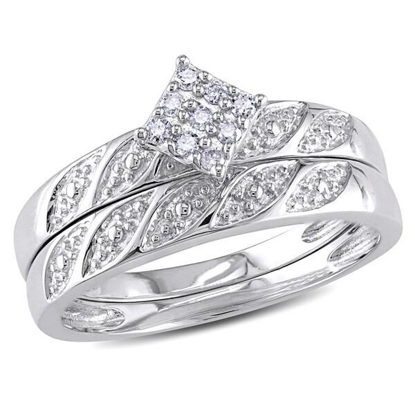 Miadora Sterling Silver 1/10ct TDW Diamond Bridal Ring Set (H-I, I2-I3)