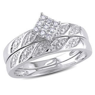 Miadora Sterling Silver 1/10ct TDW Diamond Cluster Engagement Ring Wedding Band Set (G-H, I2-I3)