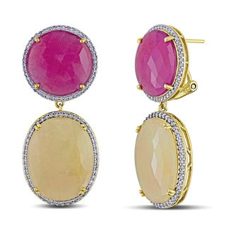 Miadora Signature Collection 14k Yellow Gold Sapphire 1/2ct TDW Diamond Earrings (G-H, SI1-SI2)