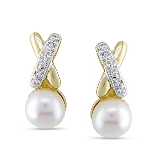 Miadora 14k Yellow Gold Freshwater White Pearl and Diamond Earrings