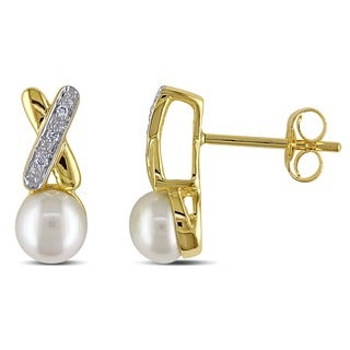 Miadora 14k Yellow Gold White Cultured Freshwater Pearl and Diamond Earrings