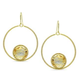 Miadora 14k Yellow Goldplated Silver 15ct TGW Citrine Dangle Earrings