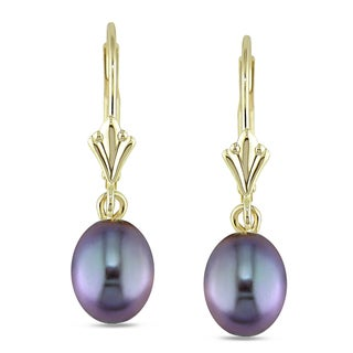 Miadora 10k Yellow Gold Freshwater Black Pearl Earrings (6-7 mm)