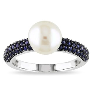 Miadora 10k White Gold Cultured Freshwater Pearl and Sapphire Ring (8-9 mm)