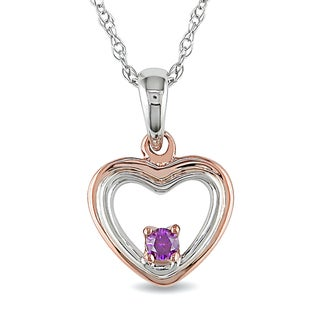 Miadora 10k Two-tone Gold Rose Accent Pink Diamond Heart Necklace