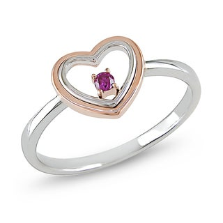 Miadora 10k White and Rose Gold Pink Diamond Heart Ring
