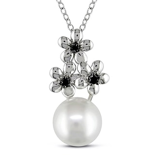 Miadora Sterling Silver Cultured Freshwater Pearl and Black Diamond Necklace