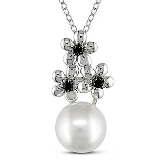 M by Miadora Sterling Silver Cultured Freshwater Pearl and Black Diamond Necklace