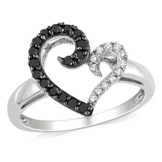 Miadora Sterling Silver 1/4ct TDW Black and White Open Heart Diamond Ring