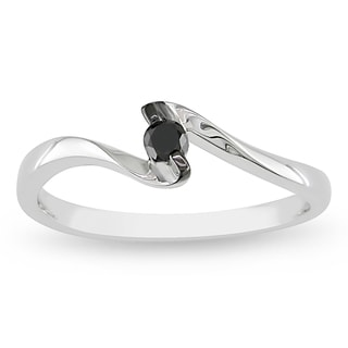 Haylee Jewels 14k White Gold 1/10ct TDW Black Diamond Promise Ring