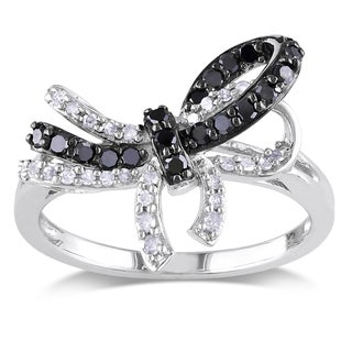 Haylee Jewels Sterling Silver 1/3ct TDW Black and White Diamond Bow Ring