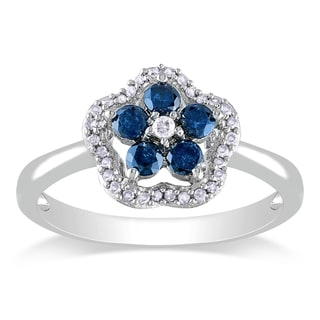 Miadora Silver 1/2ct TDW Blue and White Diamond Flower Ring