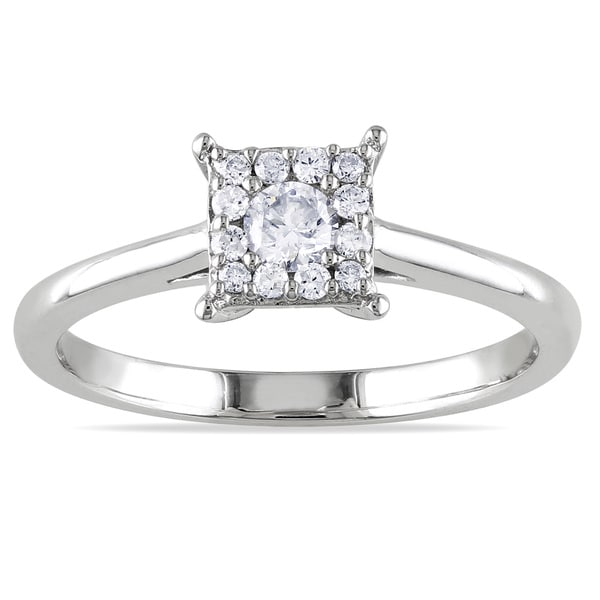 Miadora 10k White Gold 1/4ct TDW Multi Stone Princess Shape Diamond Ring (G-H, I1-I2)