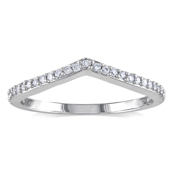 Miadora 14k White Gold 1/6ct TDW Curved Diamond Wedding Ring (G-H, I1-I2)