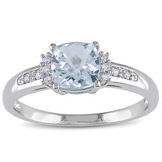 Miadora 10k White Gold Aquamarine and Diamond Ring