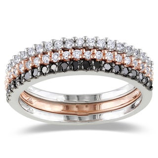 M by Miadora Silver 5/8ct TDW Black and White Diamond 3-Piece Stackable Ring Set
