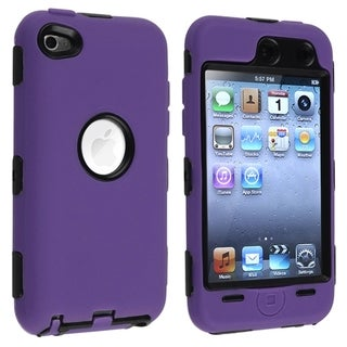 INSTEN Black/ Purple Hybrid iPod Case Cover for Apple iPod Touch 4
