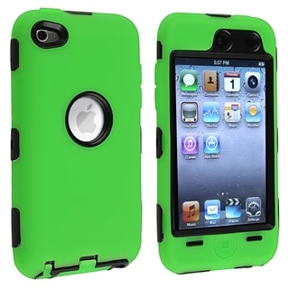 INSTEN Black/ Green Hybrid iPod Case Cover for Apple iPod Touch 4