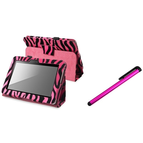 BasAcc Zebra Leather Case/ Stylus for Amazon Kindle Fire HD 7-inch