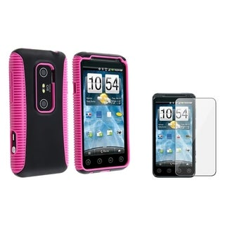 BasAcc Pink/ Black Case/ LCD Protector for HTC EVO 3D