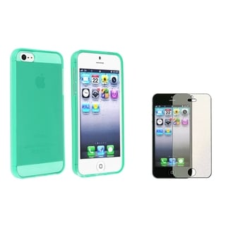 INSTEN Neon Green Phone Case Cover/ Diamond Screen Protector for Apple iPhone 5/ 5S