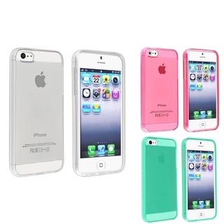 INSTEN 3-piece set Glossy TPU Snap-on Phone Case Cover for Apple iPhone 5/ 5S
