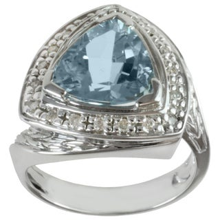 Michael Valitutti 14K White Gold Triangle-cut Aquamarine and Diamond Ring