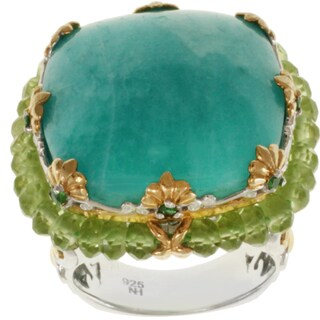 Michael Valitutti Two-tone Amazonite, Peridot and Chrome Diopside Ring