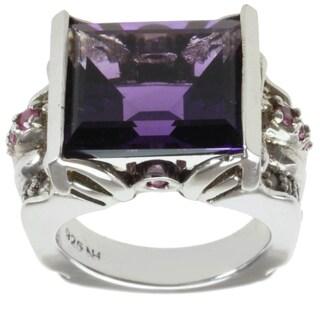 Michael Valitutti Palladium Silver Amethyst, Pink Sapphire and White Sapphire Ring