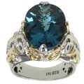 Michael Valitutti Two-tone London Blue Topaz and Blue Sapphire Ring