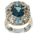 Michael Valitutti Two-tone London Blue Topaz, Apatite and Blue Sapphire Ring