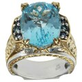 Michael Valitutti Two-tone Sky Blue Topaz, London Blue Topaz and Blue Sapphire Ring