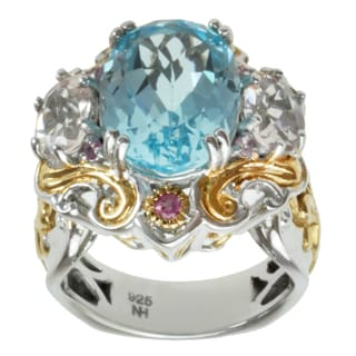 Michael Valitutti Two-tone Blue Topaz, Morganite and Pink Sapphire Ring
