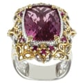 Michael Valitutti Two-tone Pink Quartz and Ruby Ring