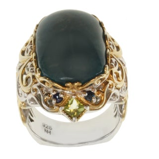 Michael Valitutti Two-tone Opaque Apatite, Peridot and Blue Sapphire Ring