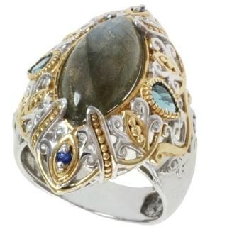 Michael Valitutti Two-tone Labradorite, London Blue Topaz and Blue Sapphire Ring