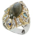 Michael Valitutti Two-tone Labradorite, London Blue Topaz and Blue Sapphire Ring
