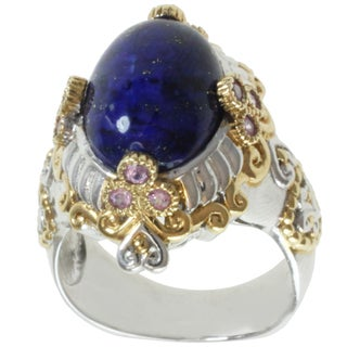 Michael Valitutti Two-tone Lapis and Pink Sapphire Ring