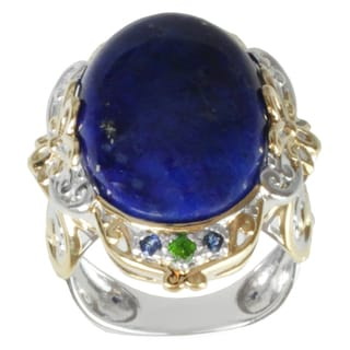 Michael Valitutti Two-tone Lapis and Chrome Diopside and Blue Sapphire Ring