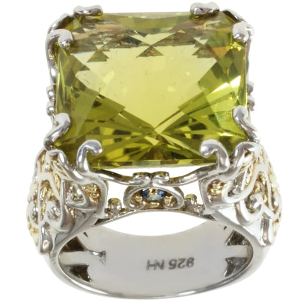 Michael Valitutti Two-tone Oro Verde, Blue Sapphire and White Sapphire Ring