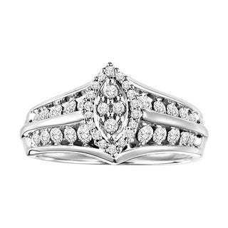Cambridge Sterling Silver 2/3ct TDW Marquise Shape Diamond Ring