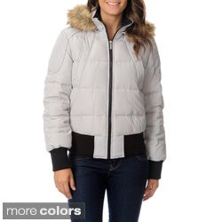 Nautica Women's Faux Fur Trim Down Bomber