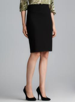 Grace Black Exposed Back Zipper Ponte Skirt
