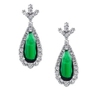 Silvertone Green and Clear Cubic Zirconia Dangle Earrings