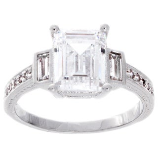 NEXTE Jewelry Sterling Silver 3-ct Emerald-cut Cubic Zirconia Engagement-style Ring