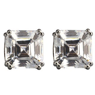 NEXTE Jewelry Sterling Silver Asscher-cut Cubic Zirconia Stud Earrings