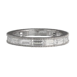 NEXTE Jewelry Sterling Silver Baguette-cut Cubic Zirconia Eternity Band