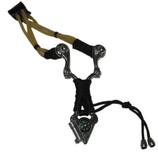 Stainless Steel Slingshot with Built-In Compass and Flashlight
