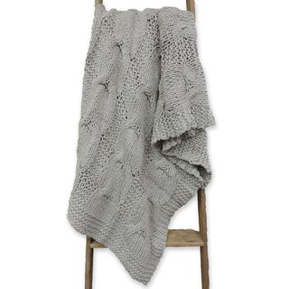 Michaela Gray Knitted Throw Blanket